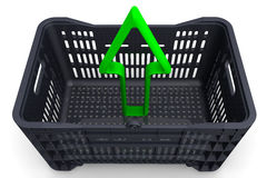 The green arrow indicates the direction out of the box Stock Image