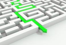 Green arrow leads through a maze stock illustration
