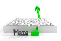Green arrow passes white 3d maze Royalty Free Stock Photos