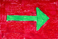 Green arrow on red background Stock Photo
