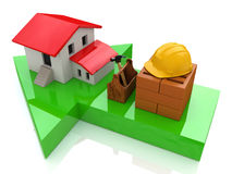 Green arrow and small house - construction concept Stock Images