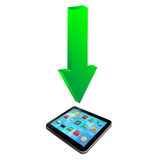 Green arrow and a tablet 20.04.13 Stock Images