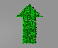 Green Arrow to show the increase of benefits. Light, shadows and cubes Stock Photo