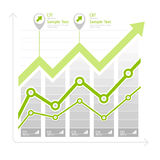 Green arrow up diagram on white. Green arrow up diagram, infographic elements on white, vector illustration Royalty Free Stock Photography