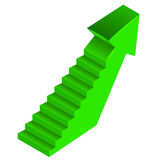 Green arrow up direction with staircase on side Royalty Free Stock Photography