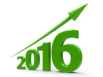 Green arrow up with 2016. Green arrow up represents the growth in 2016 year, three-dimensional rendering Stock Images