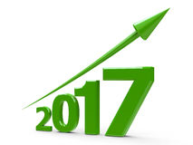 Green arrow up with 2017. Green arrow up represents the growth in 2017 year, three-dimensional rendering, 3D illustration Royalty Free Illustration