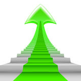 Green arrow up on staircase steps as carpet Stock Images