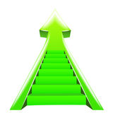 Green arrow up with staircase steps Royalty Free Stock Photo