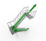 Green arrow upstairs royalty free stock image