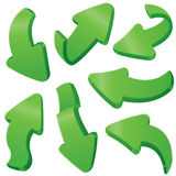 Green arrows. Set of 3d green arrows stock illustration