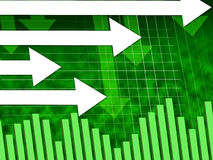 Green Arrows Background Shows Direction Towards Right Stock Images