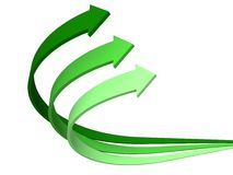 Green arrows business background. 3d Stock Photo