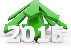 2015 - green arrows crash to the ground. 3d render illustration, green arrows crash to the ground behind 2015 text Stock Photo