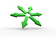 Green arrows forming circle Stock Photo
