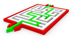 Green arrows going through the maze. Royalty Free Stock Photography