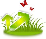 Green arrows in grass Royalty Free Stock Images