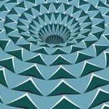 Green arrows hole. Optical motion illusion illustration.  Stock Photos