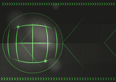 Green Arrows And Map Coordinates Background. Technology Abstract Vector Background With Green Arrows And Map Coordinates Stock Image