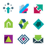 Green arrows pointing up business and life success icon set Stock Photos