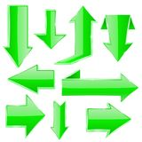 Green arrows set. Folded up and down arrows. Vector 3d illustration isolated on white background Royalty Free Stock Photo
