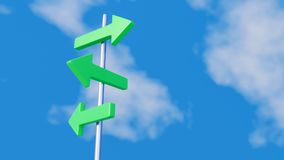 Green arrows on signpost. Three green arrows pointing in different directions on a metal signpost Stock Images