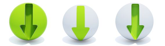 Green arrows on sphere. Three green arrows on sphere isolated on white Stock Images