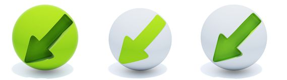 Green arrows on sphere. Three green arrows on sphere isolated on white Stock Photography