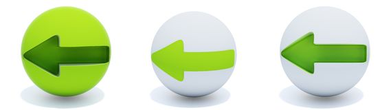 Green arrows on sphere. Three green arrows on sphere isolated on white Stock Image