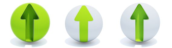 Green arrows on sphere. Three green arrows on sphere isolated on white Royalty Free Stock Photo