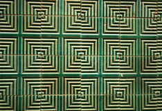 Green art deco tiles. Chinese art deco green tiles with geometric patterns stock images