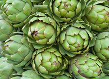 Green artichokes. A bunch of some artichokes, closeup shot Royalty Free Stock Images
