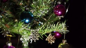 Green artificial Christmas tree. Background stock video