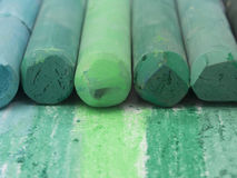 Green artistic crayons Royalty Free Stock Photos