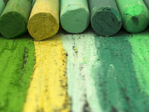 Green artistic crayons Stock Photography