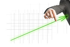 Green ascending arrow showing progress and growth Royalty Free Stock Photography