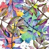 Green ash leaves. Leaf plant botanical garden floral foliage. Seamless background pattern. Fabric wallpaper print texture. Aquarelle leaf for background stock illustration