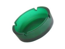 Green ashtray. Isolated. Over white stock images