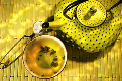 Green Asian Teapot With Cup Stock Image