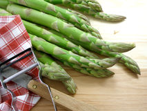 Green asparagus 4. Green asparagus on the cutting board stock photography