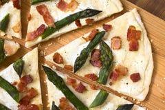 Green Asparagus and Bacon Tarte Flambee Royalty Free Stock Photo
