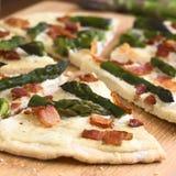 Green Asparagus and Bacon Tarte Flambee Stock Photos
