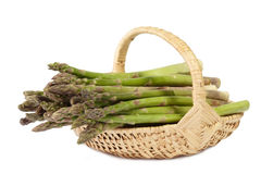 Green asparagus in a basket Stock Photo
