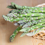 Green asparagus in Basket. On the table Stock Photography