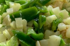 green asparagus beans and onions cut into small pieces Royalty Free Stock Image