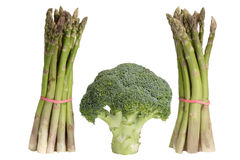 Green asparagus with broccoli Royalty Free Stock Photos