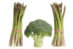 Green asparagus with broccoli royalty free stock photos