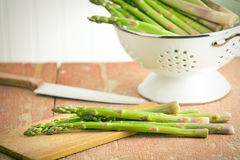 Green asparagus in colander Royalty Free Stock Images