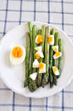 Green Asparagus with eggs royalty free stock image