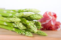 Green asparagus with ham Stock Photography